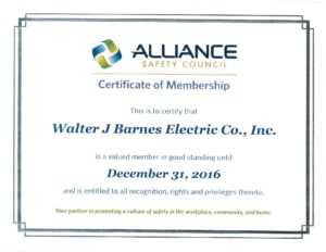 Alliance Safety Certificate