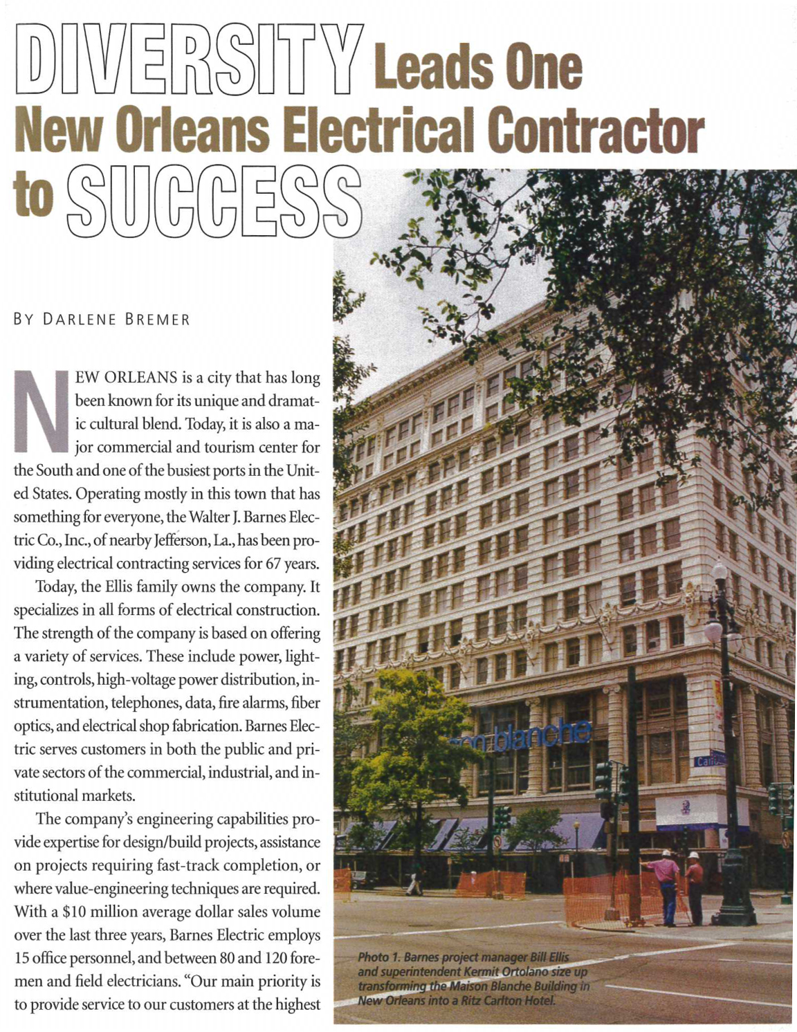 Electrical Contractor Magazine Article - Page 1